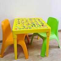 """Набор детской пластиковой мебели """"Абетка"""" стол и 2 стула. (ЖЕЛТЫЙ СТОЛ) Украина"""