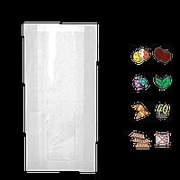 Бумажный пакет без ручек белый с прозрачной вставкой 310х160х80/60мм (ВхШхГхШВ) 40г/м² 100шт (110)