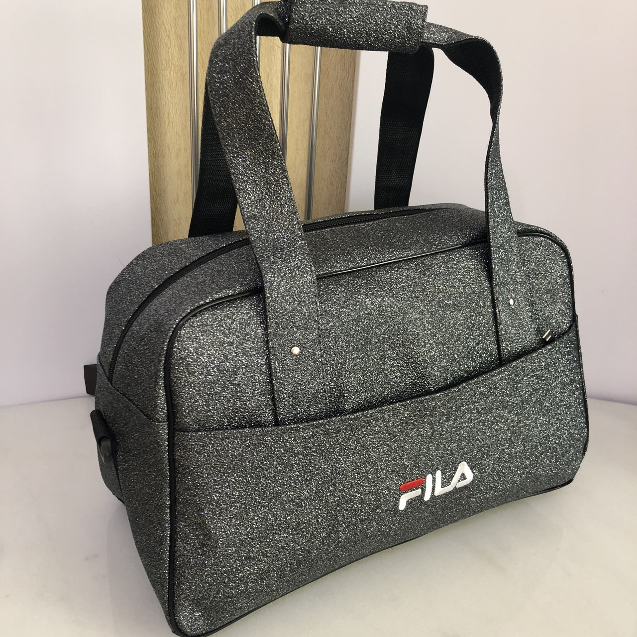 Женская спортивная сумка дорожная сумка Fila Nike Fendi серая