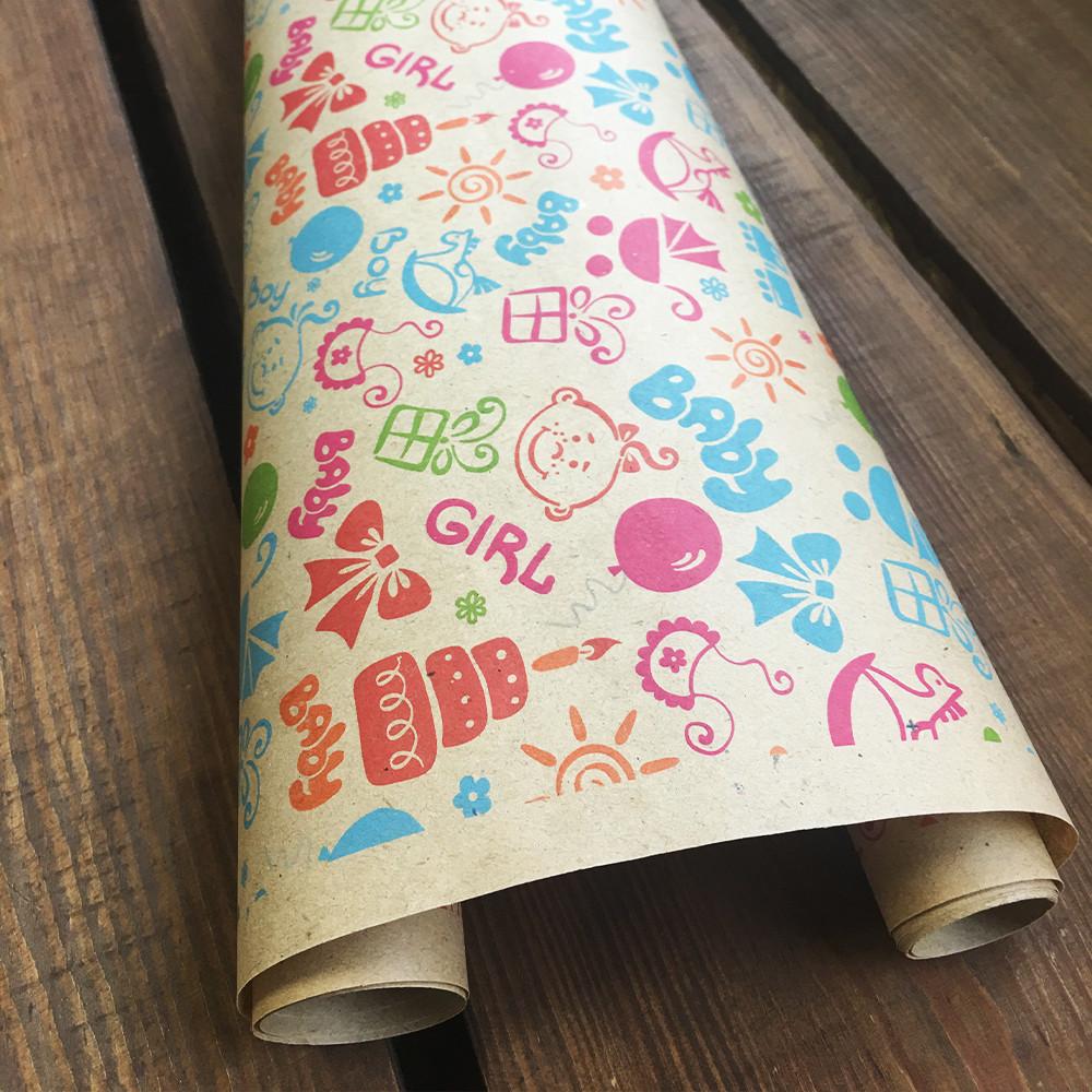 """Крафт бумага подарочная  """"Baby"""", 0.7 х 10 метров. 70 грамм/м². LOVE & home"""