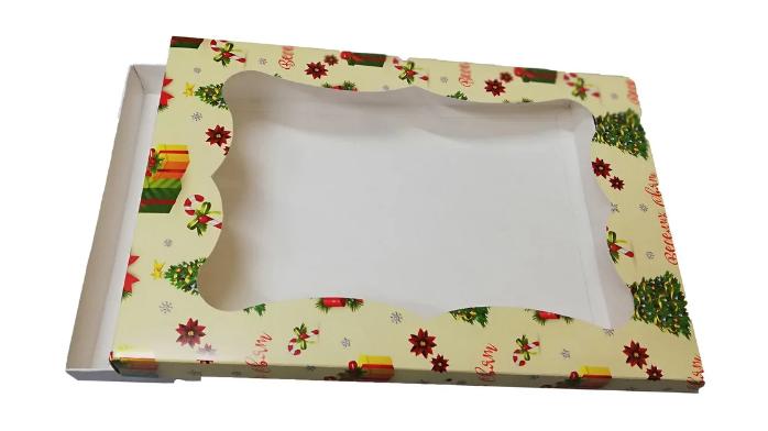 Картонная коробка для пряников праздничная 300*200*30 (принт подарок) К06