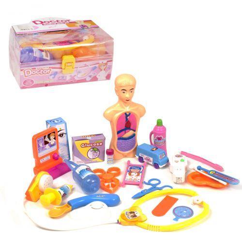 Докторский набор в чемодане, с анатомической моделью (розовый)  sco