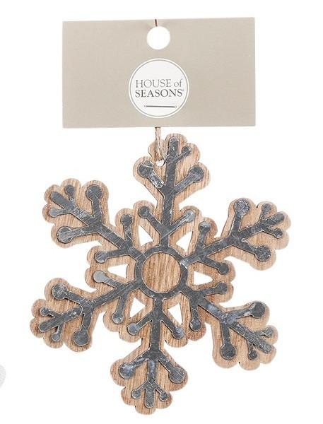 Украшение декоративное деревянное, Снежинка, в асс. 10 см, House of Seasons