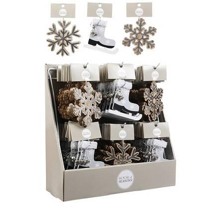 Украшение декоративное деревянное, Снежинка, в асс. 10 см, House of Seasons, фото 2