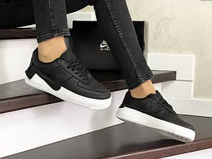 Кроссовки женские найк эйр форс 1 черные кожаные (реплика) Nike Air Force 1 Jester XX Black Winter