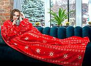 Новогодний плед с рукавами из микрофибры Красные снежинки, фото 2