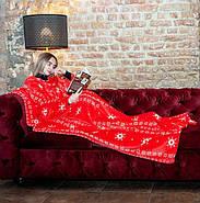 Новогодний плед с рукавами из микрофибры Красные снежинки, фото 4