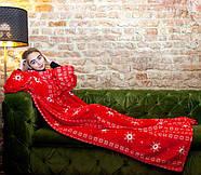 Новогодний плед с рукавами из микрофибры Красные снежинки, фото 6