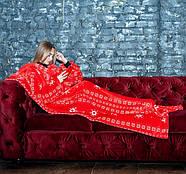 Новогодний плед с рукавами из микрофибры Красные снежинки, фото 7