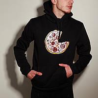 Худи толстовка с капюшоном мужской зимний теплый черный с принтом Пицца, фото 1