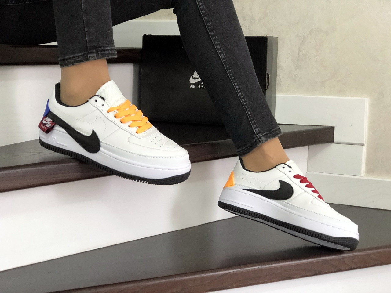 Кеды женские найк эйр форс 1 белые с черным кожаные (реплика) Nike Air Force 1 Jester XX Black Winter