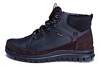 Мужские зимние кожаные ботинки ZG  Black Flotar Style