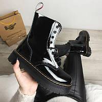 Женские кожаные ботинки Dr Martens Jadon Black Lucide (Др Мартинс Жадон черные) без меха