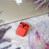 Беспроводные наушники HBQ i12 TWS красные матовые bluetooth 5.0, фото 1