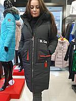Тепла зимова подовжена жіноча куртка, на силконі, з капюшоном, розміри 46-52