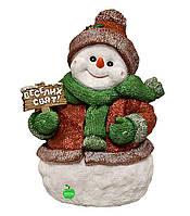 """Новогодняя садовая фигура Снеговик с табличкой """"Веселих свят!"""" большой"""