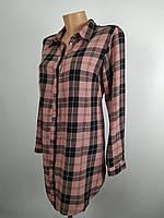 Рубашка-туника для беременных, клетка розовая-черная, Н&M размер евро S укр 44