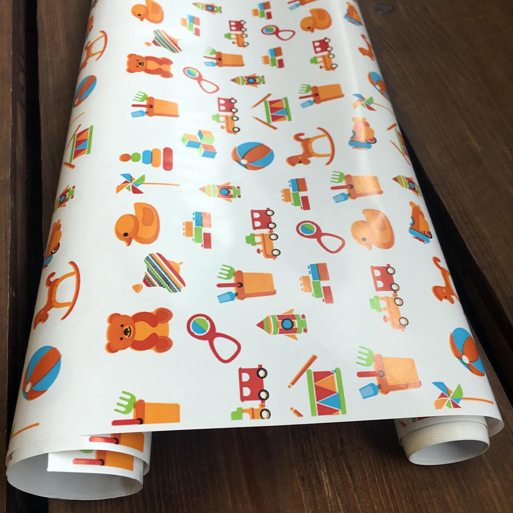 """Подарочная бумага мелованная, с принтом  """"Игрушки"""", 0.68 x 1 метр. 70 грамм/м². LOVE & home белая"""