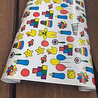"""Подарунковий папір крейдований, з принтом """"Дитинство"""", 0.68 x 1 метр. 70 г/м2. LOVE & home біла, фото 1"""