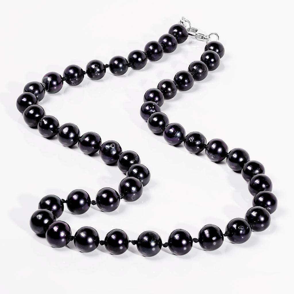 Намисто з чорного перлів, Ø8 мм, 45 див., 707БСЖ