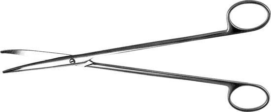 H-8 Ножницы для рассечения мягких тканей в глубоких полостях вертикально-изогнутые 230 мм
