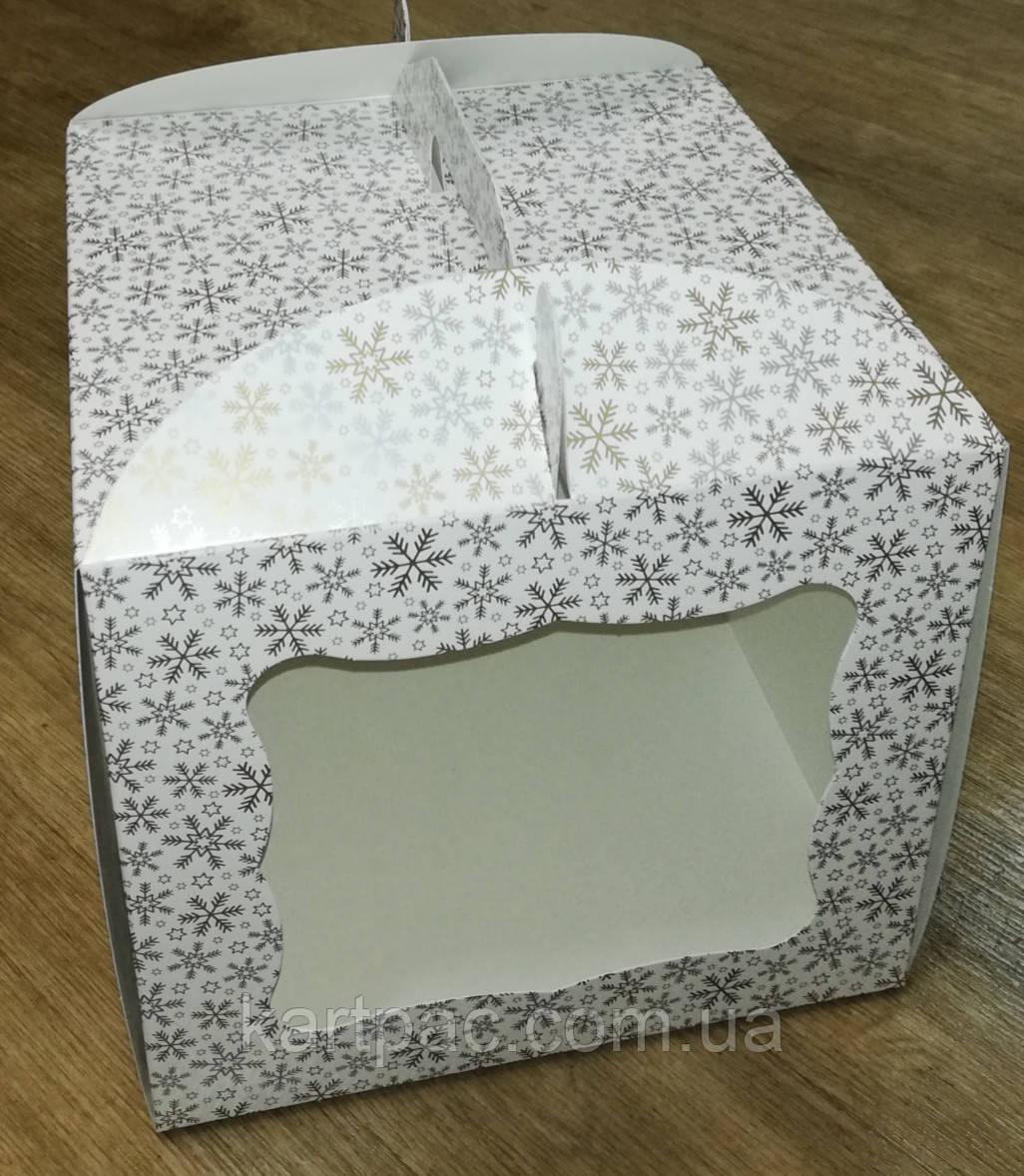 """Упаковка для тортів з картону """"Зима"""" 230*230*210"""