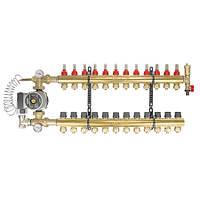 Коллектор теплого пола в сборе с насосом на 12 выходов 1 (ВВ) * 3/4 (16 мм)