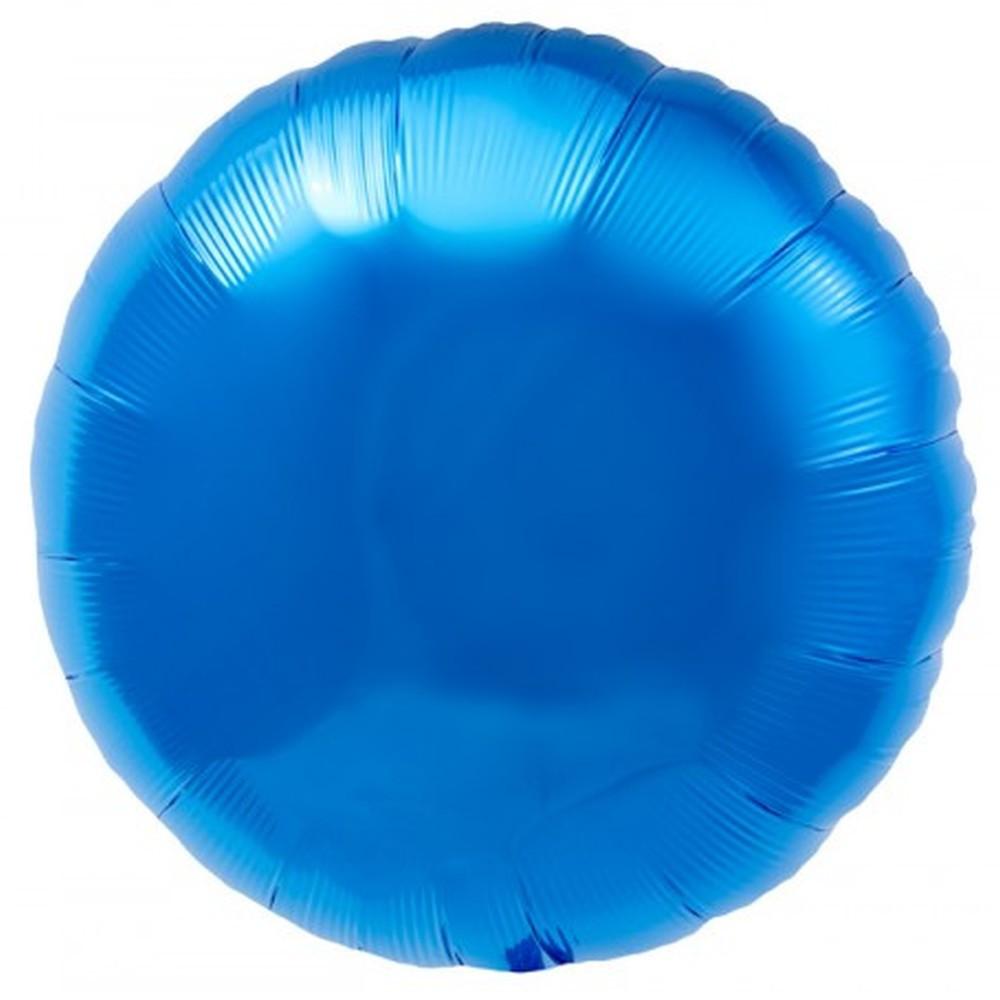Шар круглый фольгированный Голубой 45*45 см 1521