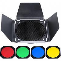 Набор Godox BD-04, шторки, соты, цветные гели  (BD-04)