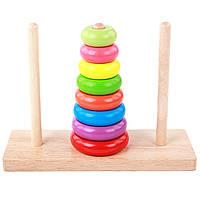 Деревянная игрушка Головоломка «Ханойская Башня», развивающие товары для детей.