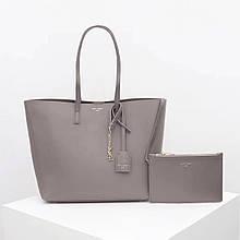 Сумка Shopping Bag Ив Сен Лоран натуральная кожа, цвет серый с золотом