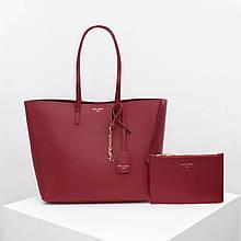 Сумка Shopping Bag Ив Сен Лоран натуральная кожа, цвет бордовый с золотом