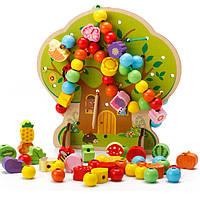 Деревянная игрушка Шнуровка «Чудо дерево», 100 дет., развивающие товары для детей.