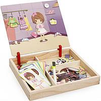 Деревянная игрушка Магнитная игра «Юная модница», развивающие товары для детей.