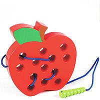 Деревянная игрушка Шнуровка «Большое Яблоко» (объемная), развивающие товары для детей.