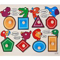 Деревянная игрушка Вкладыши «Гео животные», развивающие товары для детей.