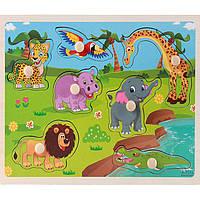 Деревянная игрушка Вкладыши «У водопоя», развивающие товары для детей.