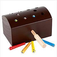 Деревянная игрушка Магнитная рыбалка «Гусенички», развивающие товары для детей.