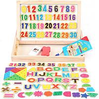 Деревянная игрушка Магнитная игра «Буквы и цифры», развивающие товары для детей.