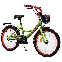 Велосипед детский 2-х двухколесный 20 дюймов CORSO цвет зеленый с корзиной 6-10 лет