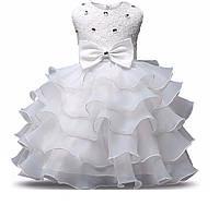 Нарядное платье белое пышное с бантом 3-8 лет