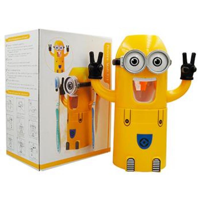 Диспансер Миньон с наушниками Дозатор зубной пасты с держателем зубных щеток и стаканчиком