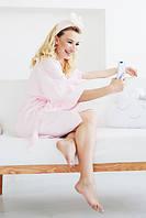 Сатиновый халатик, домашний халат, нежно розовый, фото 1