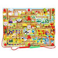 Деревянная игрушка Игра со стилусом + мольберт «Ферма», развивающие товары для детей.
