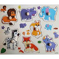 Деревянная игрушка Рамка-вкладыш «Забавные животные», развивающие товары для детей.