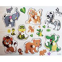 Деревянная игрушка Рамка-вкладыш «Мир животных», развивающие товары для детей.