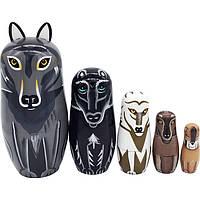 Деревянная игрушка Матрешка «Собаченки», 5 в 1, развивающие товары для детей.