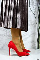 Туфли-лодочки на шпильке, эко-замш красный