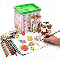 Деревянная игрушка Детский набор для творчества с трафаретами, развивающие товары для детей.