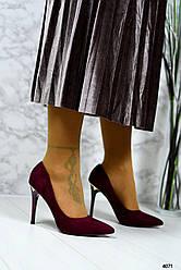 Туфли-лодочки на шпильке, эко-замш марсала